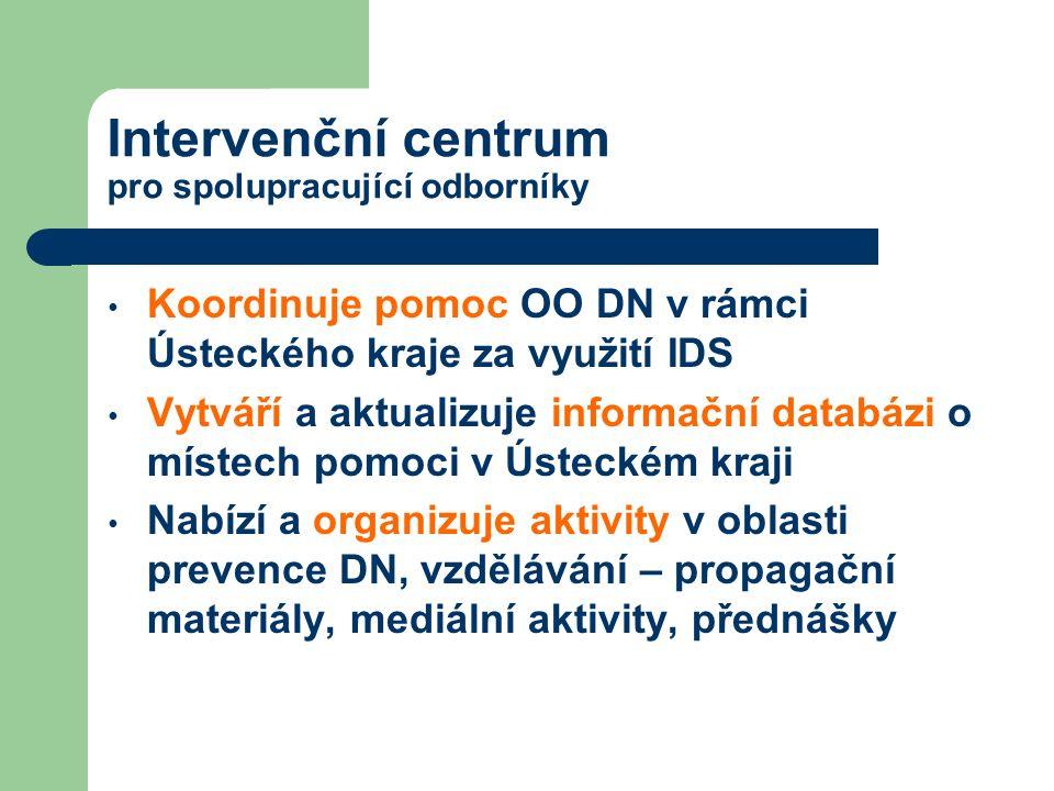 Intervenční centrum pro spolupracující odborníky Koordinuje pomoc OO DN v rámci Ústeckého kraje za využití IDS Vytváří a aktualizuje informační databá