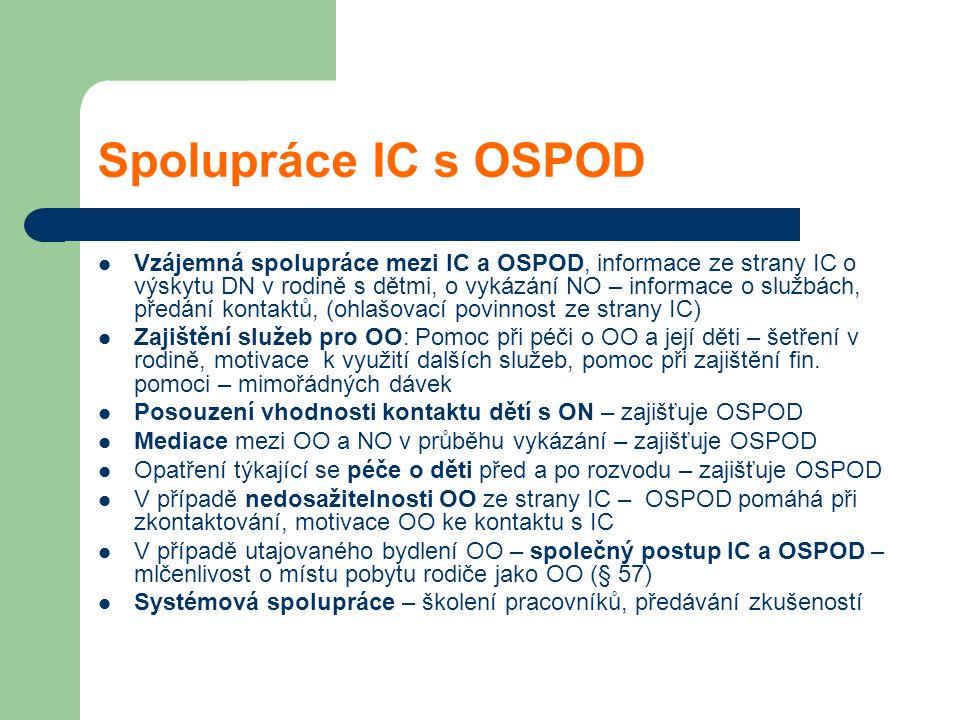 Spolupráce IC s OSPOD Vzájemná spolupráce mezi IC a OSPOD, informace ze strany IC o výskytu DN v rodině s dětmi, o vykázání NO – informace o službách,