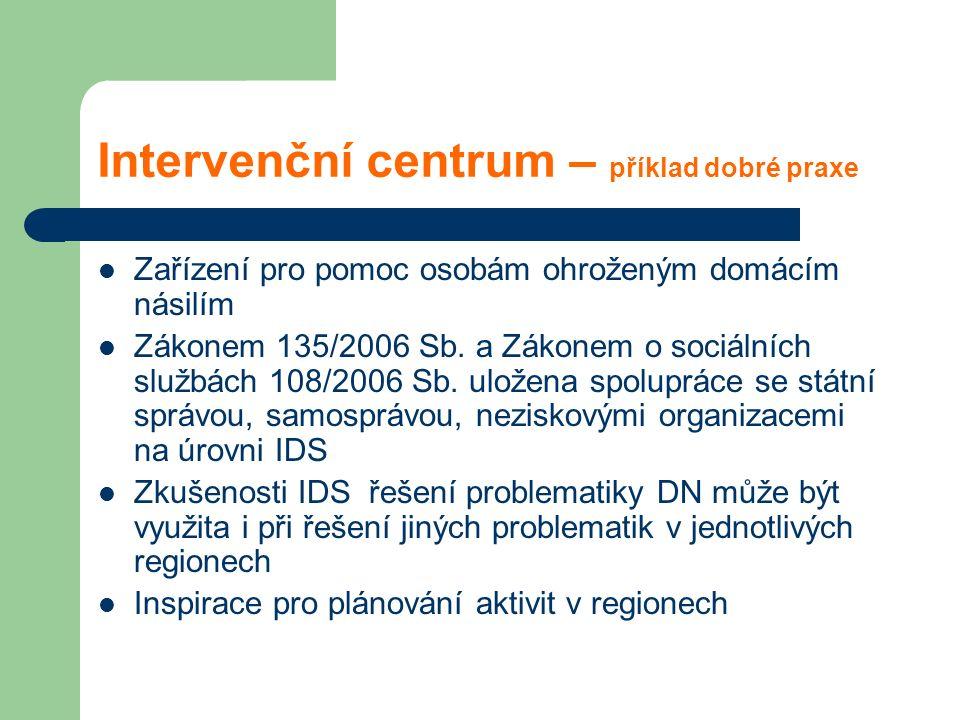 Intervenční centrum – příklad dobré praxe Zařízení pro pomoc osobám ohroženým domácím násilím Zákonem 135/2006 Sb. a Zákonem o sociálních službách 108