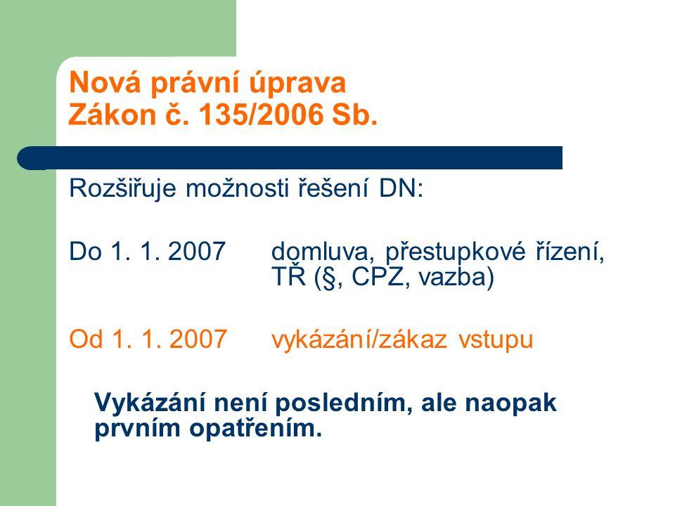Nová právní úprava Zákon č. 135/2006 Sb. Rozšiřuje možnosti řešení DN: Do 1. 1. 2007 domluva, přestupkové řízení, TŘ (§, CPZ, vazba) Od 1. 1. 2007 vyk
