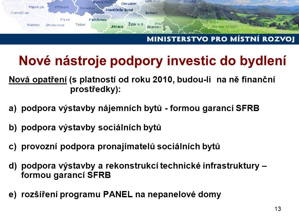13 Nová opatření (s platností od roku 2010, budou-li na ně finanční prostředky): a)podpora výstavby nájemních bytů - formou garancí SFRB b)podpora výstavby sociálních bytů c)provozní podpora pronajímatelů sociálních bytů d)podpora výstavby a rekonstrukcí technické infrastruktury – formou garancí SFRB e)rozšíření programu PANEL na nepanelové domy Nové nástroje podpory investic do bydlení