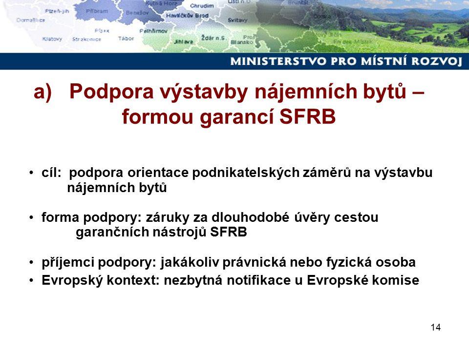 14 cíl: podpora orientace podnikatelských záměrů na výstavbu nájemních bytů forma podpory: záruky za dlouhodobé úvěry cestou garančních nástrojů SFRB příjemci podpory: jakákoliv právnická nebo fyzická osoba Evropský kontext: nezbytná notifikace u Evropské komise a) Podpora výstavby nájemních bytů – formou garancí SFRB
