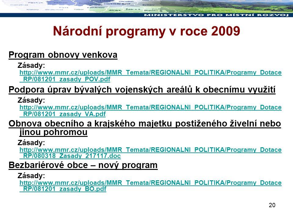 20 Národní programy v roce 2009 Program obnovy venkova Zásady: http://www.mmr.cz/uploads/MMR_Temata/REGIONALNI_POLITIKA/Programy_Dotace _RP/081201_zasady_POV.pdf http://www.mmr.cz/uploads/MMR_Temata/REGIONALNI_POLITIKA/Programy_Dotace _RP/081201_zasady_POV.pdf Podpora úprav bývalých vojenských areálů k obecnímu využití Zásady: http://www.mmr.cz/uploads/MMR_Temata/REGIONALNI_POLITIKA/Programy_Dotace _RP/081201_zasady_VA.pdf http://www.mmr.cz/uploads/MMR_Temata/REGIONALNI_POLITIKA/Programy_Dotace _RP/081201_zasady_VA.pdf Obnova obecního a krajského majetku postiženého živelní nebo jinou pohromou Zásady: http://www.mmr.cz/uploads/MMR_Temata/REGIONALNI_POLITIKA/Programy_Dotace _RP/080318_Zasady_217117.doc http://www.mmr.cz/uploads/MMR_Temata/REGIONALNI_POLITIKA/Programy_Dotace _RP/080318_Zasady_217117.doc Bezbariérové obce – nový program Zásady: http://www.mmr.cz/uploads/MMR_Temata/REGIONALNI_POLITIKA/Programy_Dotace _RP/081201_zasady_BO.pdf http://www.mmr.cz/uploads/MMR_Temata/REGIONALNI_POLITIKA/Programy_Dotace _RP/081201_zasady_BO.pdf