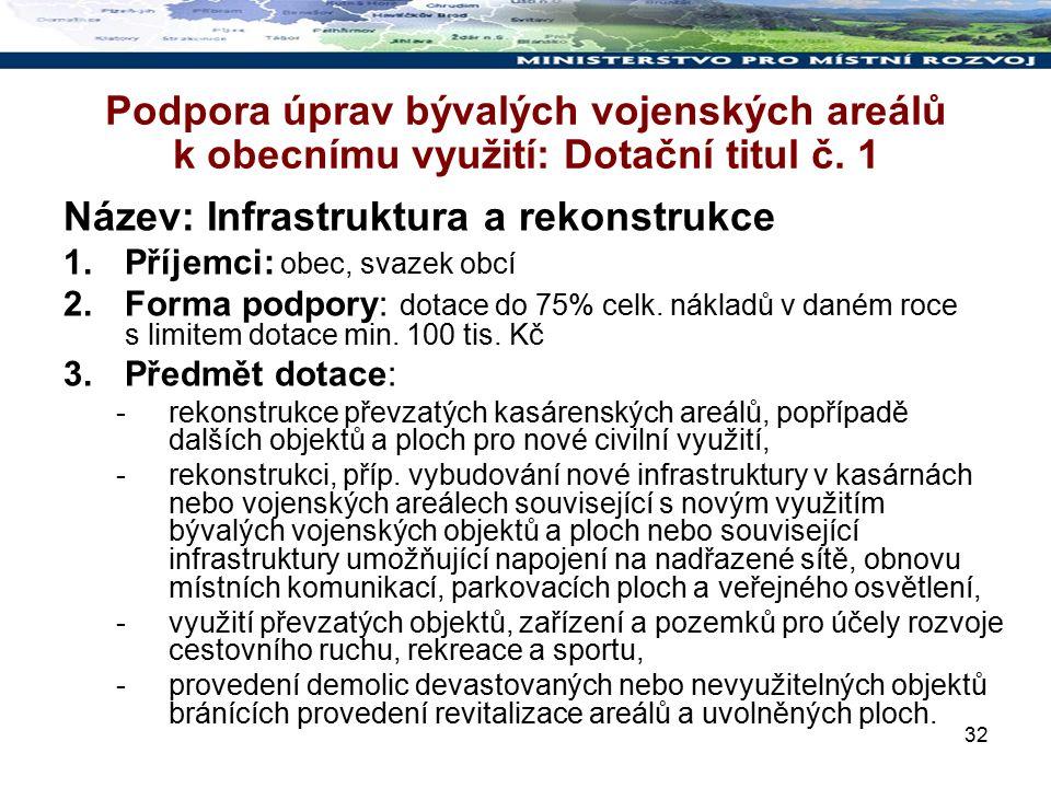 32 Podpora úprav bývalých vojenských areálů k obecnímu využití: Dotační titul č.