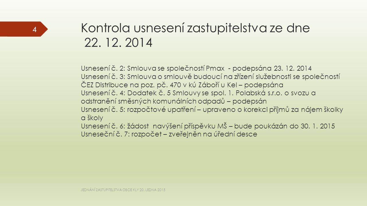 Kontrola usnesení zastupitelstva ze dne 22.12. 2014 Usnesení č.
