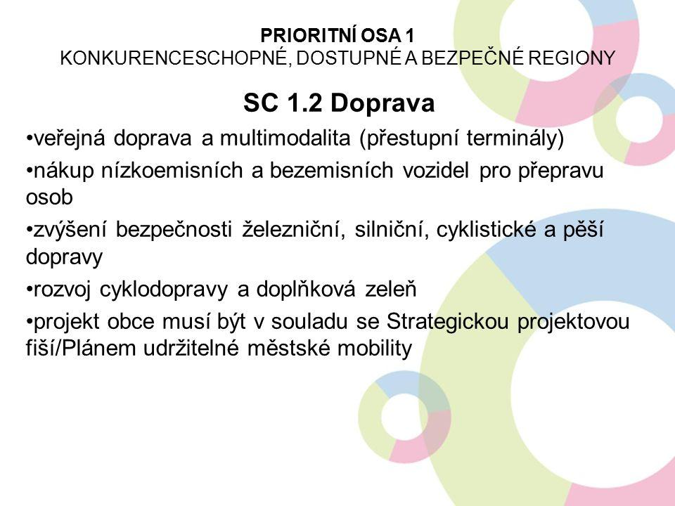 SC 1.2 Doprava veřejná doprava a multimodalita (přestupní terminály) nákup nízkoemisních a bezemisních vozidel pro přepravu osob zvýšení bezpečnosti ž