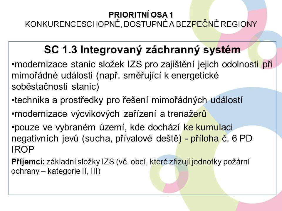 SC 1.3 Integrovaný záchranný systém modernizace stanic složek IZS pro zajištění jejich odolnosti při mimořádné události (např. směřující k energetické