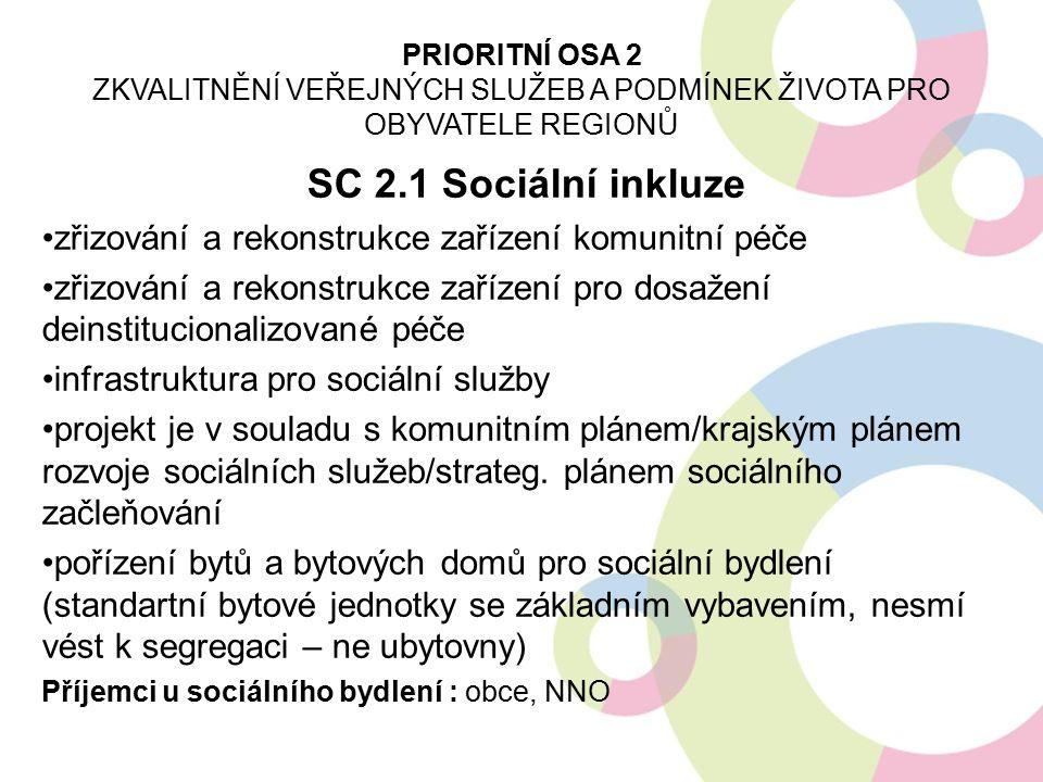 SC 2.2 Sociální podnikání výstavba, rekonstrukce, vybavení sociálních podniků s cílem umožnit sociálně vyloučeným osobám vstup na trh práce nelze financovat stávající podnikatelské aktivity ani provozní výdaje žadatele cílené výzvy na obce s rozšířenou působností, kde se nachází sociálně vyloučená lokalita, pak výzva na zbytek území PRIORITNÍ OSA 2 ZKVALITNĚNÍ VEŘEJNÝCH SLUŽEB A PODMÍNEK ŽIVOTA PRO OBYVATELE REGIONŮ