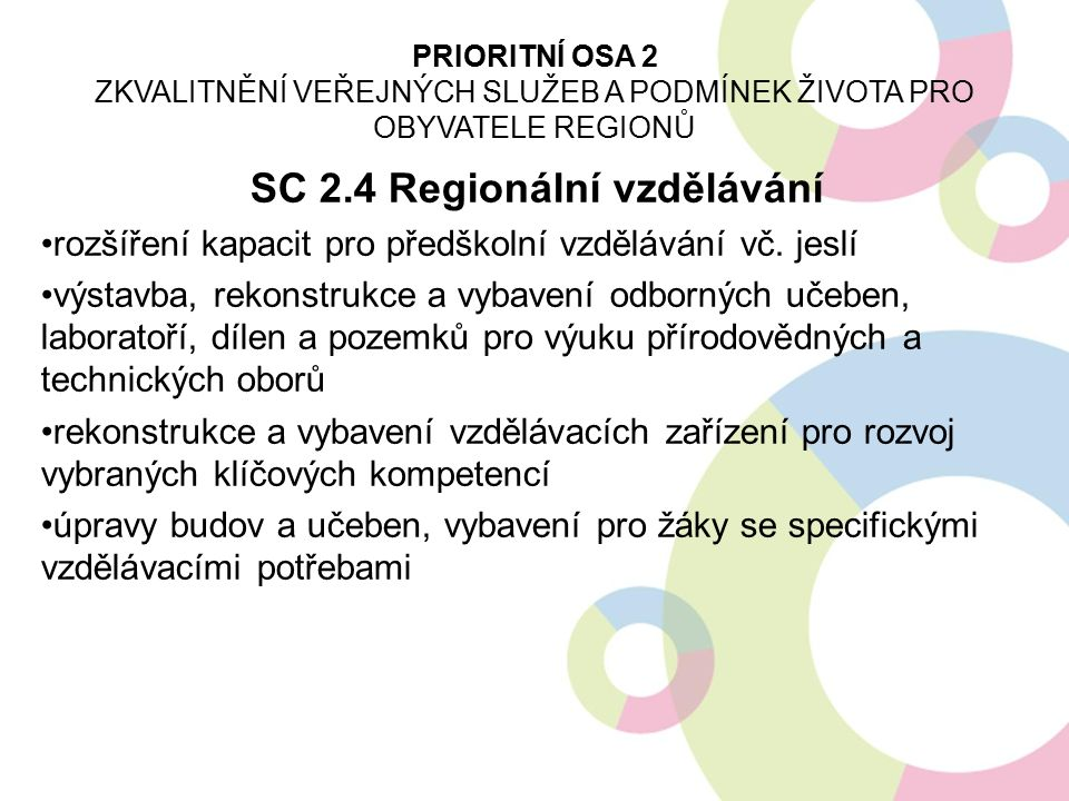 SC 2.4 Regionální vzdělávání podpora mateřských škol, jeslí a dětských skupin podpora infrastruktury pro ZŠ, SŠ a VOŠ (oblast cizích jazyků, technických a řemeslných oborů, přírodních věd, IT) doplňková zeleň v okolí budov podpora infrastruktury pro celoživotní vzdělávání rozvoj vnitřní konektivity škol a školských zařízení, připojení k internetu soulad projektu s akčními plány rozvoje vzdělávání nelze podporovat všeobecnou vzdělávací infrastrukturu PRIORITNÍ OSA 2 ZKVALITNĚNÍ VEŘEJNÝCH SLUŽEB A PODMÍNEK ŽIVOTA PRO OBYVATELE REGIONŮ