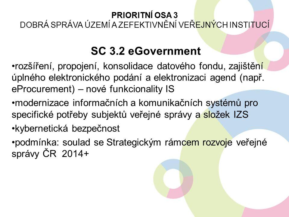 SC 3.2 eGovernment rozšíření, propojení, konsolidace datového fondu, zajištění úplného elektronického podání a elektronizaci agend (např. eProcurement