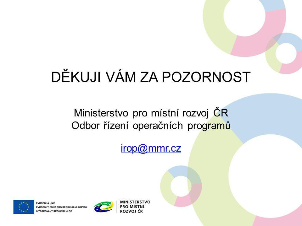 DĚKUJI VÁM ZA POZORNOST Ministerstvo pro místní rozvoj ČR Odbor řízení operačních programů irop@mmr.cz