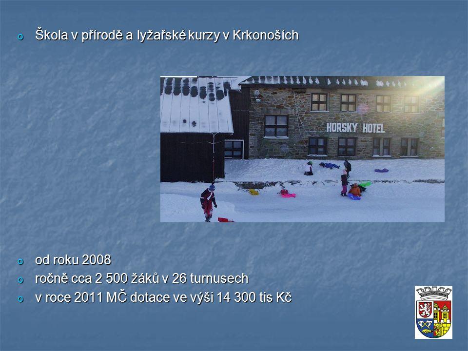 o Škola v přírodě a lyžařské kurzy v Krkonoších o od roku 2008 o ročně cca 2 500 žáků v 26 turnusech o v roce 2011 MČ dotace ve výši 14 300 tis Kč