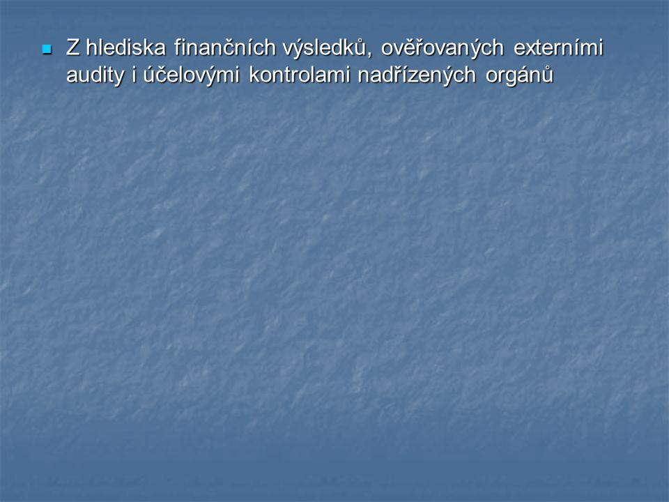 Z hlediska finančních výsledků, ověřovaných externími audity i účelovými kontrolami nadřízených orgánů Z hlediska finančních výsledků, ověřovaných externími audity i účelovými kontrolami nadřízených orgánů