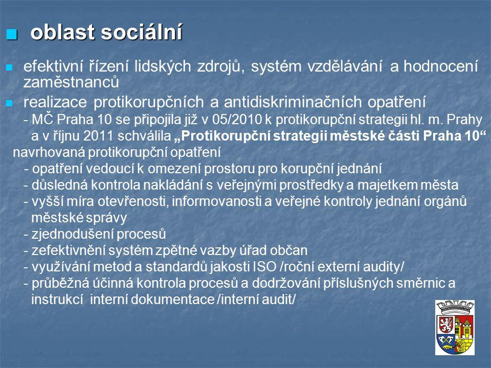 ■ oblast sociální efektivní řízení lidských zdrojů, systém vzdělávání a hodnocení zaměstnanců realizace protikorupčních a antidiskriminačních opatření - MČ Praha 10 se připojila již v 05/2010 k protikorupční strategii hl.