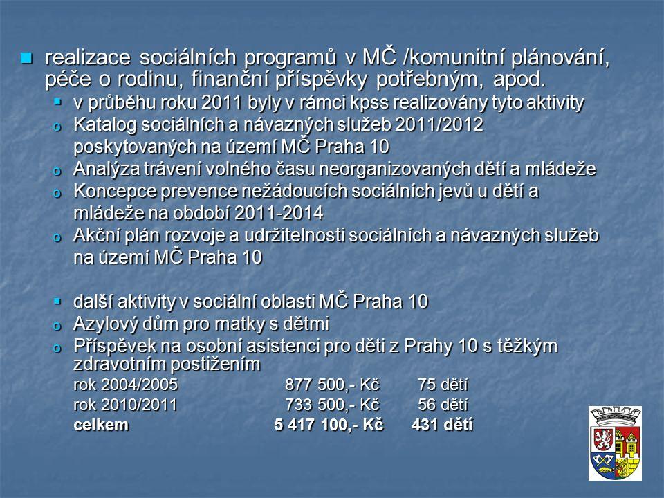 realizace sociálních programů v MČ /komunitní plánování, péče o rodinu, finanční příspěvky potřebným, apod.