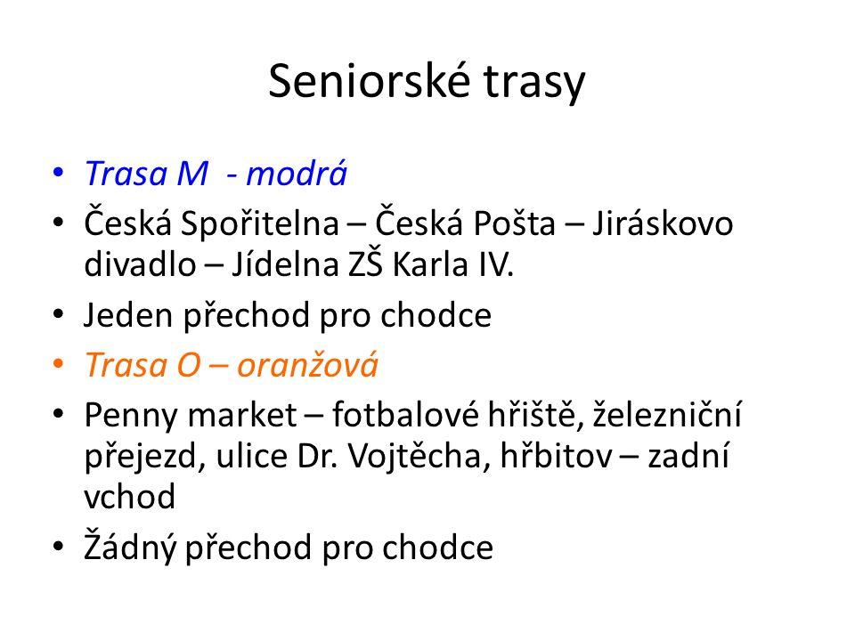 Seniorské trasy Trasa M - modrá Česká Spořitelna – Česká Pošta – Jiráskovo divadlo – Jídelna ZŠ Karla IV.