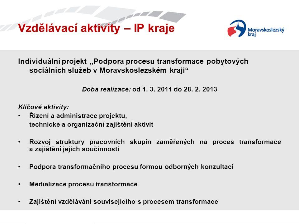 """Vzdělávací aktivity – IP kraje Individuální projekt """"Podpora procesu transformace pobytových sociálních služeb v Moravskoslezském kraji Doba realizace: od 1."""