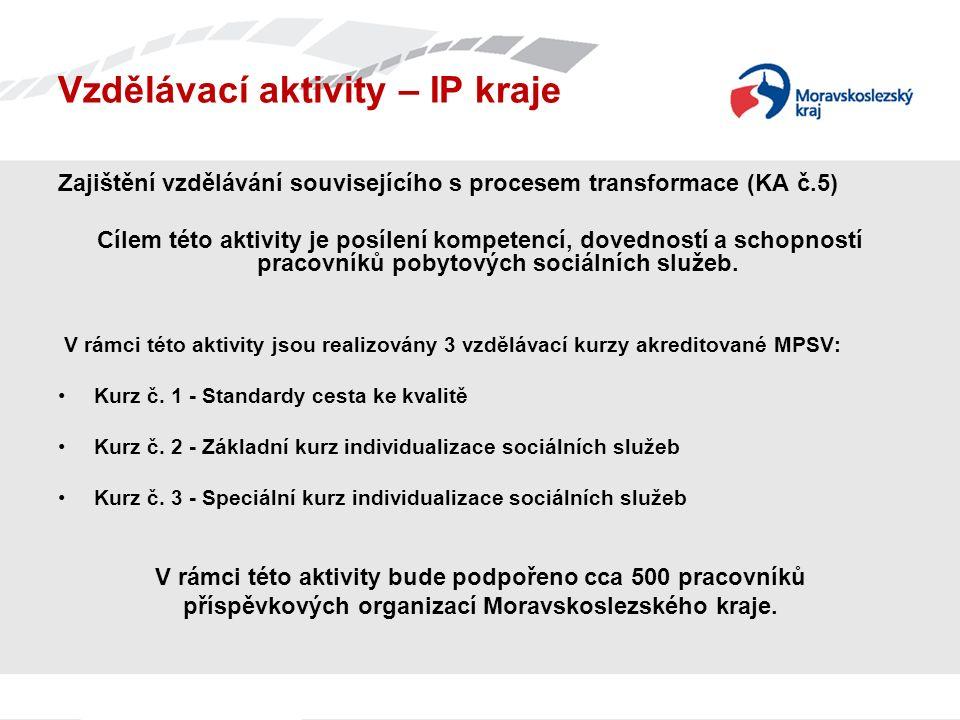 Vzdělávací aktivity – IP kraje Zajištění vzdělávání souvisejícího s procesem transformace (KA č.5) Cílem této aktivity je posílení kompetencí, dovedností a schopností pracovníků pobytových sociálních služeb.