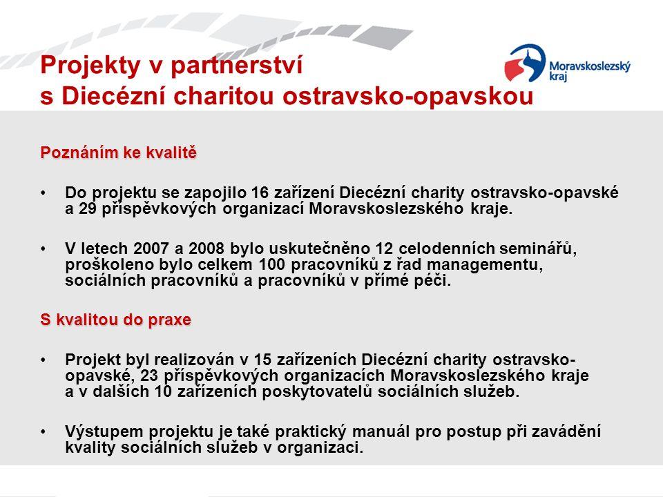 Projekty v partnerství s Diecézní charitou ostravsko-opavskou Poznáním ke kvalitě Do projektu se zapojilo 16 zařízení Diecézní charity ostravsko-opavské a 29 příspěvkových organizací Moravskoslezského kraje.