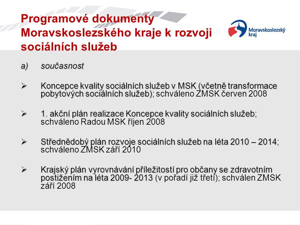 Programové dokumenty Moravskoslezského kraje k rozvoji sociálních služeb a)současnost  Koncepce kvality sociálních služeb v MSK (včetně transformace pobytových sociálních služeb)  Koncepce kvality sociálních služeb v MSK (včetně transformace pobytových sociálních služeb); schváleno ZMSK červen 2008  1.