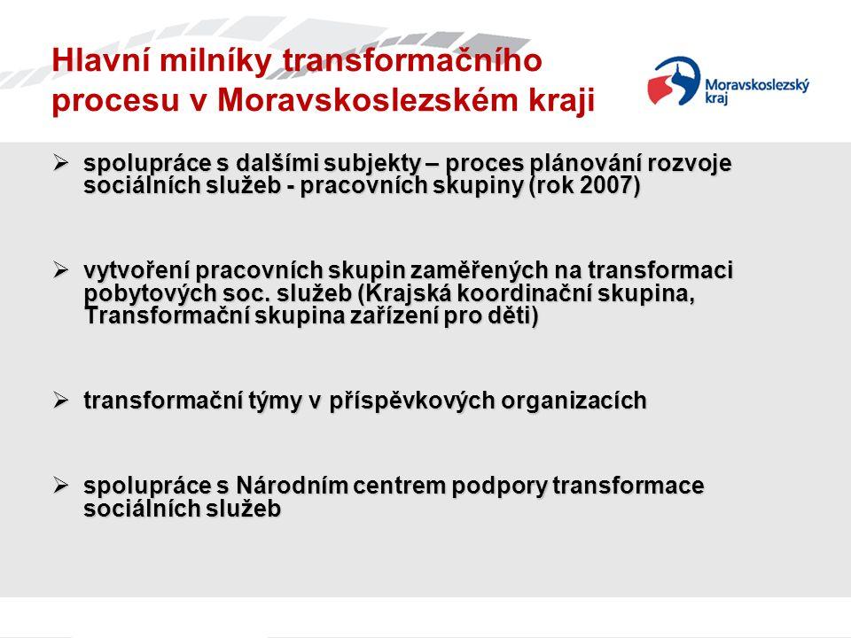 Hlavní milníky transformačního procesu v Moravskoslezském kraji  spolupráce s dalšími subjekty – proces plánování rozvoje sociálních služeb - pracovních skupiny (rok 2007)  vytvoření pracovních skupin zaměřených na transformaci pobytových soc.