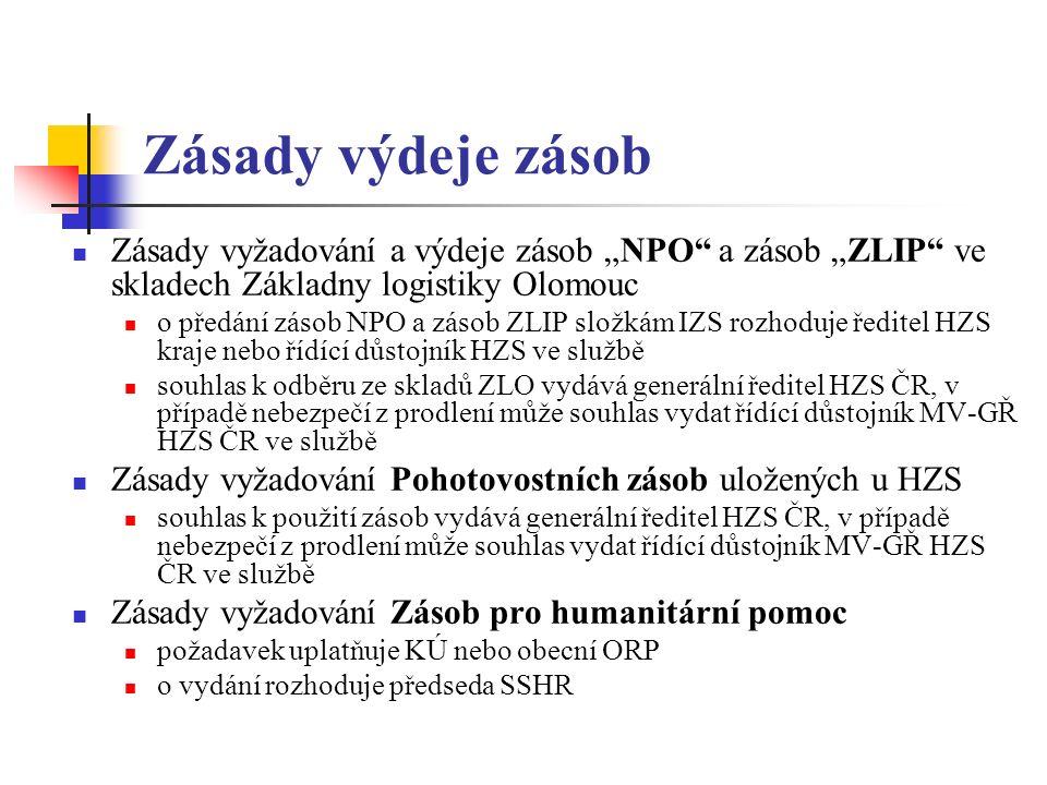 """Zásady výdeje zásob Zásady vyžadování a výdeje zásob """"NPO a zásob """"ZLIP ve skladech Základny logistiky Olomouc o předání zásob NPO a zásob ZLIP složkám IZS rozhoduje ředitel HZS kraje nebo řídící důstojník HZS ve službě souhlas k odběru ze skladů ZLO vydává generální ředitel HZS ČR, v případě nebezpečí z prodlení může souhlas vydat řídící důstojník MV-GŘ HZS ČR ve službě Zásady vyžadování Pohotovostních zásob uložených u HZS souhlas k použití zásob vydává generální ředitel HZS ČR, v případě nebezpečí z prodlení může souhlas vydat řídící důstojník MV-GŘ HZS ČR ve službě Zásady vyžadování Zásob pro humanitární pomoc požadavek uplatňuje KÚ nebo obecní ORP o vydání rozhoduje předseda SSHR"""