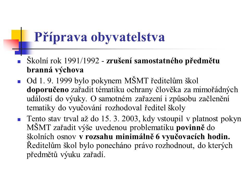 Příprava obyvatelstva Školní rok 1991/1992 - zrušení samostatného předmětu branná výchova Od 1.