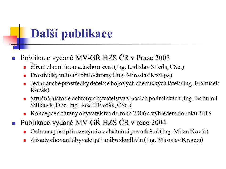 Další publikace MV-GŘ HZS ČR v Praze 2003 Publikace vydané MV-GŘ HZS ČR v Praze 2003 Ing.