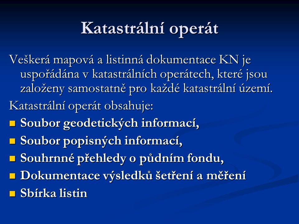 Katastrální operát Veškerá mapová a listinná dokumentace KN je uspořádána v katastrálních operátech, které jsou založeny samostatně pro každé katastrální území.