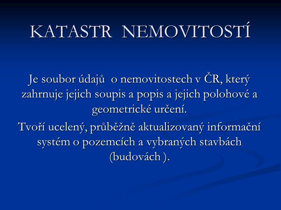 Je soubor údajů o nemovitostech v ČR, který zahrnuje jejich soupis a popis a jejich polohové a geometrické určení.