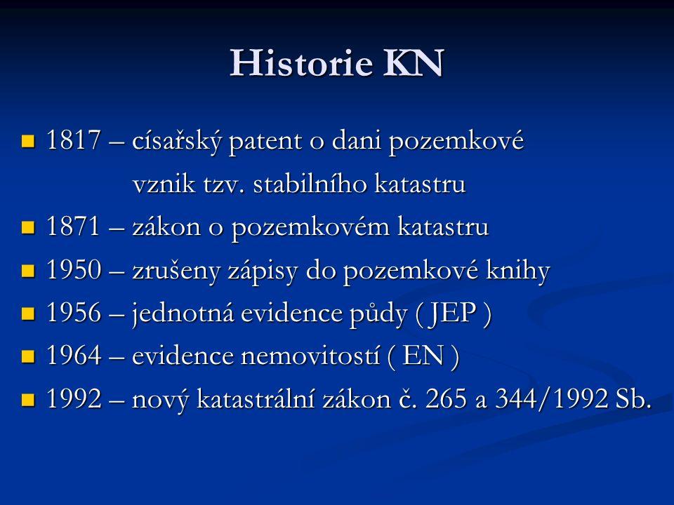 Historie KN 1817 – císařský patent o dani pozemkové 1817 – císařský patent o dani pozemkové vznik tzv.