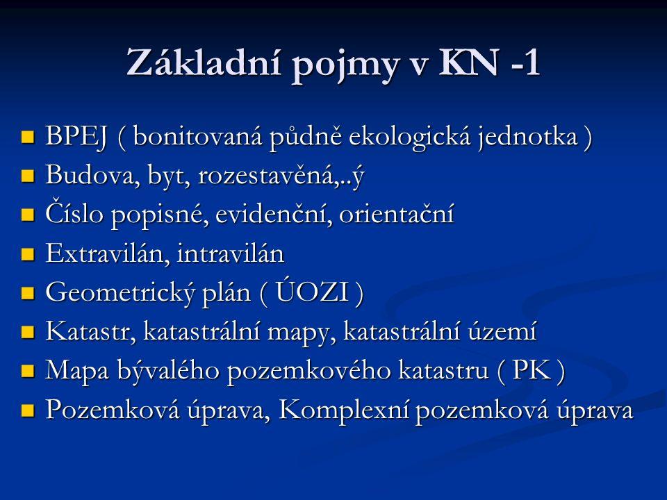 Základní pojmy v KN -1 BPEJ ( bonitovaná půdně ekologická jednotka ) BPEJ ( bonitovaná půdně ekologická jednotka ) Budova, byt, rozestavěná,..ý Budova, byt, rozestavěná,..ý Číslo popisné, evidenční, orientační Číslo popisné, evidenční, orientační Extravilán, intravilán Extravilán, intravilán Geometrický plán ( ÚOZI ) Geometrický plán ( ÚOZI ) Katastr, katastrální mapy, katastrální území Katastr, katastrální mapy, katastrální území Mapa bývalého pozemkového katastru ( PK ) Mapa bývalého pozemkového katastru ( PK ) Pozemková úprava, Komplexní pozemková úprava Pozemková úprava, Komplexní pozemková úprava