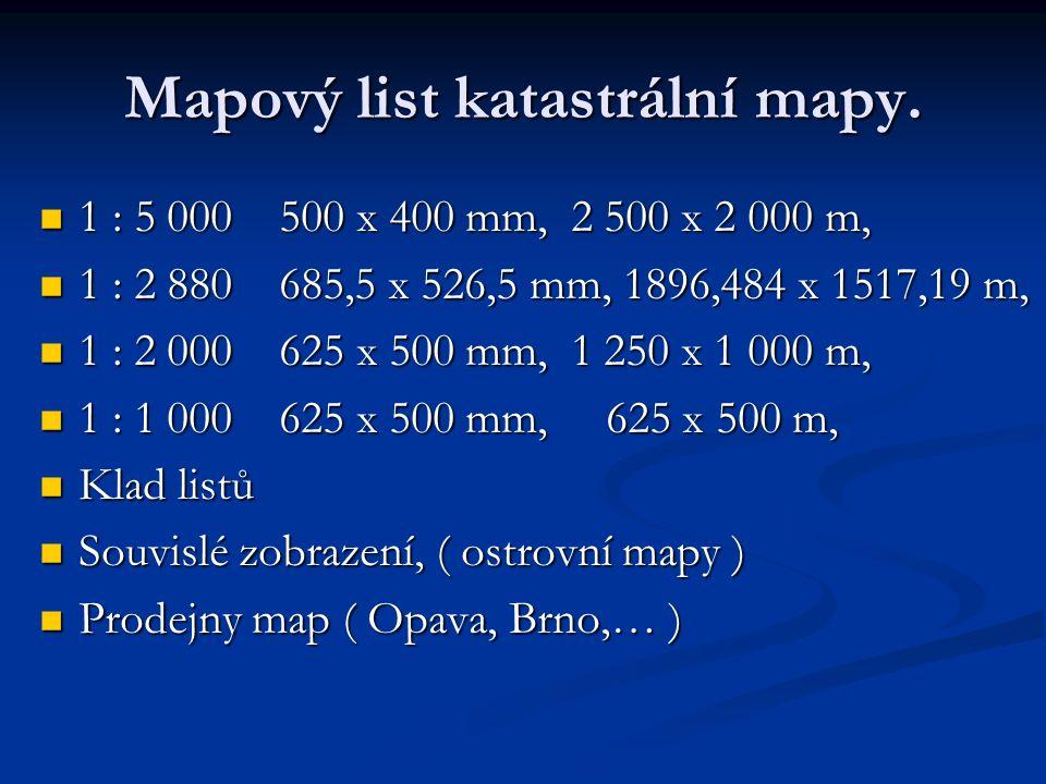 Mapový list katastrální mapy.