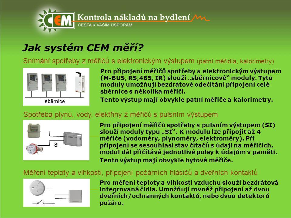 Jak systém CEM měří? Snímání spotřeby z měřičů s elektronickým výstupem (patní měřidla, kalorimetry) sběrnice Pro připojení měřičů spotřeby s elektron