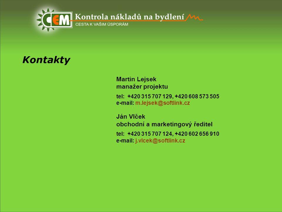 Kontakty Martin Lejsek manažer projektu tel: +420 315 707 129, +420 608 573 505 e-mail: m.lejsek@softlink.cz Ján Vlček obchodní a marketingový ředitel