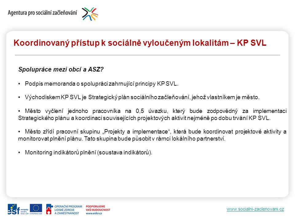 www.socialni-zaclenovani.cz Koordinovaný přístup k sociálně vyloučeným lokalitám – KP SVL Spolupráce mezi obcí a ASZ.