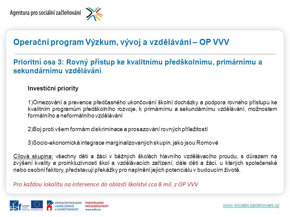 www.socialni-zaclenovani.cz Operační program Výzkum, vývoj a vzdělávání – OP VVV Prioritní osa 3: Rovný přístup ke kvalitnímu předškolnímu, primárnímu a sekundárnímu vzdělávání Investiční priority 1)Omezování a prevence předčasného ukončování školní docházky a podpora rovného přístupu ke kvalitním programům předškolního rozvoje, k primárnímu a sekundárnímu vzdělávání, možnostem formálního a neformálního vzdělávání 2)Boj proti všem formám diskriminace a prosazování rovných příležitostí 3)Socio-ekonomická integrace marginalizovaných skupin, jako jsou Romové Cílová skupina: všechny děti a žáci v běžných školách hlavního vzdělávacího proudu, s důrazem na zvýšení kvality a proinkluzivnosti škol a vzdělávacích zařízení, dále děti a žáci, u kterých společenské nebo osobní faktory, představují překážky pro naplnění jejich potenciálu v budoucím životě.