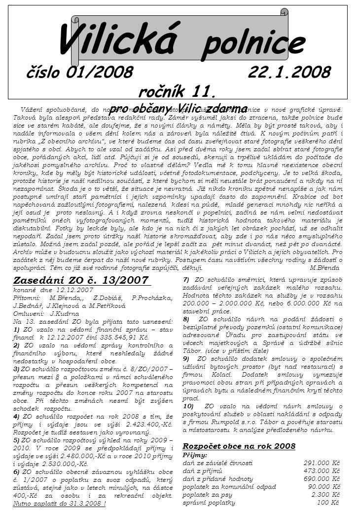 Vilická polnice číslo 01/2008 22.1.2008 ročník 11.