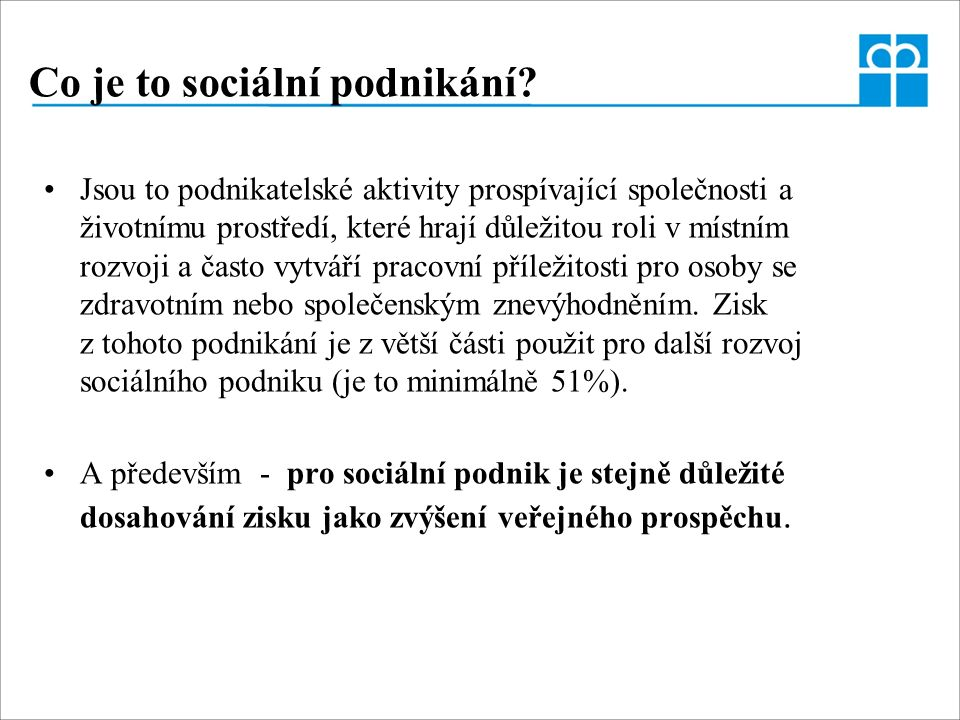 Co je to sociální podnikání.