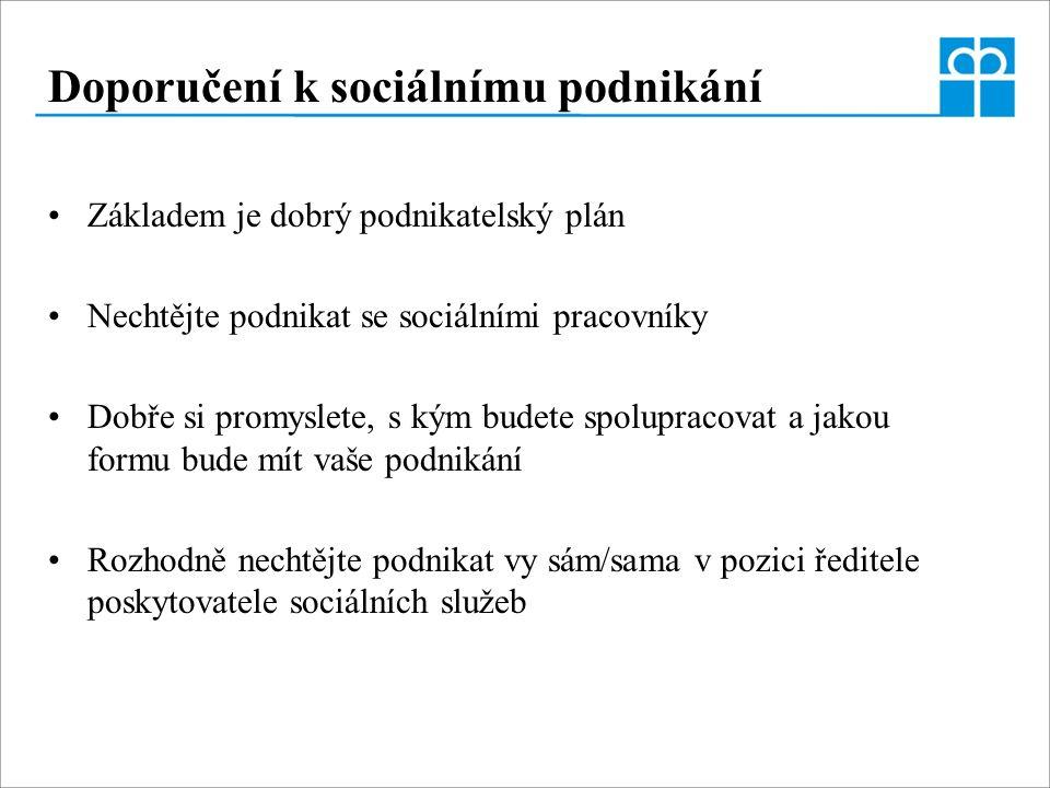 Doporučení k sociálnímu podnikání Základem je dobrý podnikatelský plán Nechtějte podnikat se sociálními pracovníky Dobře si promyslete, s kým budete s