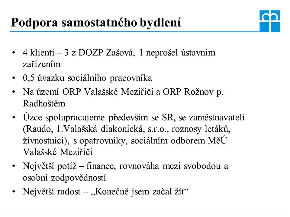 Podpora samostatného bydlení 4 klienti – 3 z DOZP Zašová, 1 neprošel ústavním zařízením 0,5 úvazku sociálního pracovníka Na území ORP Valašské Meziříčí a ORP Rožnov p.