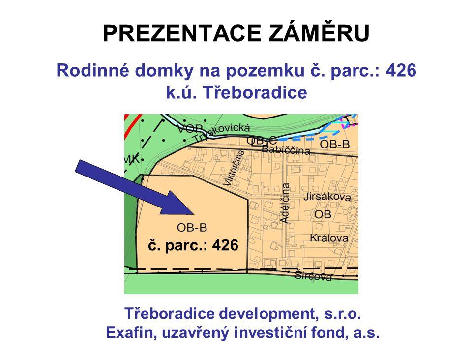 PREZENTACE ZÁMĚRU Rodinné domky na pozemku č. parc.: 426 k.ú.