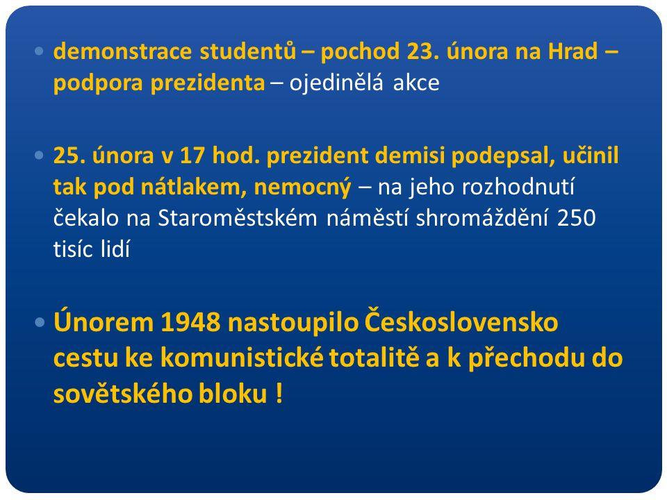 demonstrace studentů – pochod 23. února na Hrad – podpora prezidenta – ojedinělá akce 25. února v 17 hod. prezident demisi podepsal, učinil tak pod ná