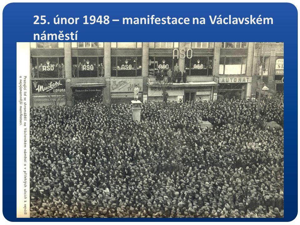25. únor 1948 – manifestace na Václavském náměstí