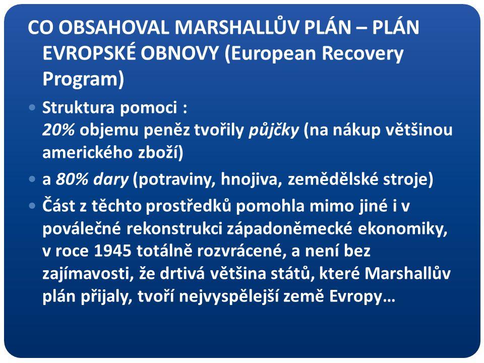 CO OBSAHOVAL MARSHALLŮV PLÁN – PLÁN EVROPSKÉ OBNOVY (European Recovery Program) Struktura pomoci : 20% objemu peněz tvořily půjčky (na nákup většinou