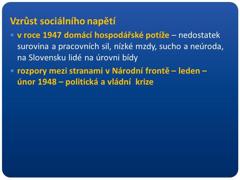 Vzrůst sociálního napětí v roce 1947 domácí hospodářské potíže – nedostatek surovina a pracovních sil, nízké mzdy, sucho a neúroda, na Slovensku lidé na úrovni bídy rozpory mezi stranami v Národní frontě – leden – únor 1948 – politická a vládní krize