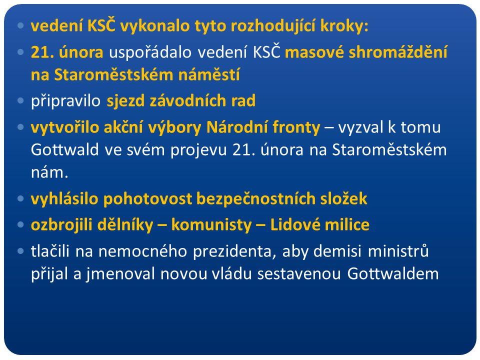 vedení KSČ vykonalo tyto rozhodující kroky: 21. února uspořádalo vedení KSČ masové shromáždění na Staroměstském náměstí připravilo sjezd závodních rad