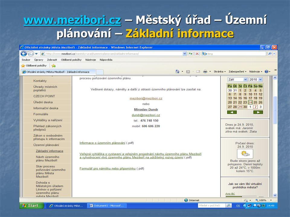 www.mezibori.czwww.mezibori.cz – Městský úřad – Územní plánování – Základní informace www.mezibori.cz