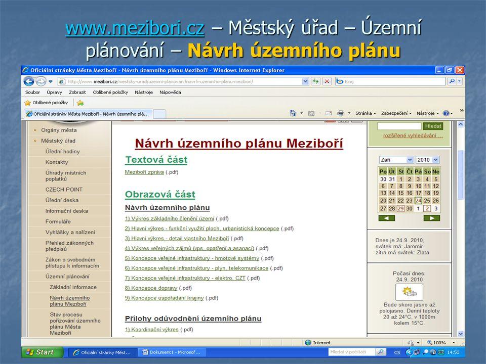 www.mezibori.cz – Městský úřad – Územní plánování – Návrh územního plánu www.mezibori.cz