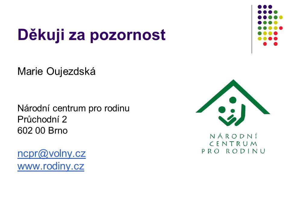 Děkuji za pozornost Marie Oujezdská Národní centrum pro rodinu Průchodní 2 602 00 Brno ncpr@volny.cz www.rodiny.cz
